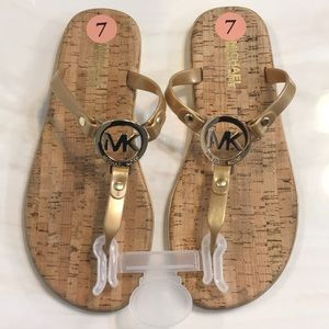 💗MICHAEL KORS Gold Jelly Cork Flip Flop Sandals💗